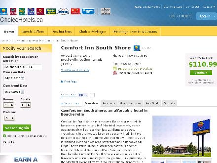Comfort Inn South Shore (450-641-2880) - Website thumbnail - http://www.choicehotels.ca/cn327