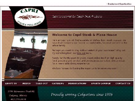 Capri Steak & Pizza House (403-276-8918) - Onglet de site Web - http://www.capristeakandpizza.ca