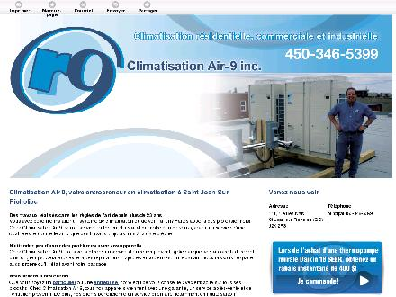 Climatisation Air 9 (450-346-5399) - Onglet de site Web - http://climatisationair9.ca