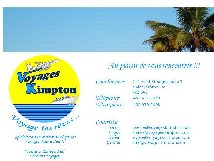 Agence de Voyage Kimpton (450-431-0050) - Onglet de site Web - http://www.voyageskimpton.com