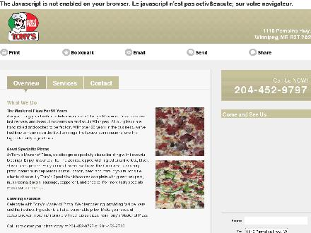 Tony's Master Of Pizza (204-452-9797) - Onglet de site Web - http://tonysmasterofpizza.com/