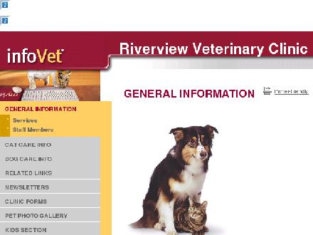 Riverview Veterinary Clinic (780-987-4838) - Website thumbnail - http://www.infovet.ca/riverviewvet