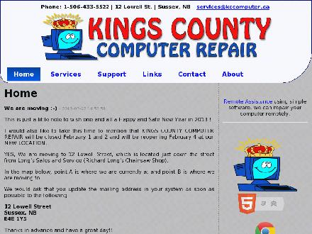 Kings County Computer Repair (506-433-5522) - Onglet de site Web - http://www.kccomputer.ca