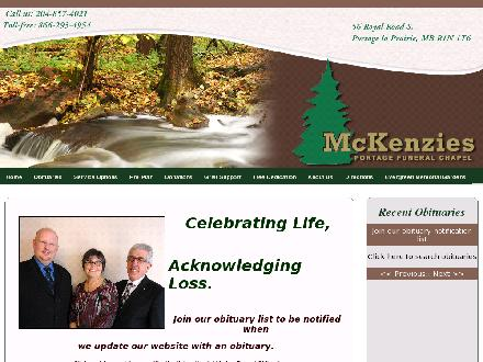 McKenzies Portage Funeral Chapel Ltd (204-857-4021) - Website thumbnail - http://www.mckenziesportagefuneralchapel.com