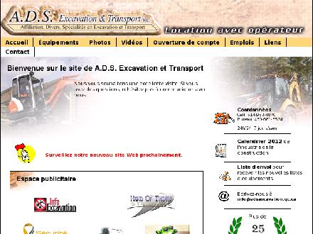 ADS Excavation Et Transport Inc (514-953-4870) - Onglet de site Web - http://www.adsexcavation.qc.ca
