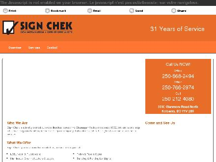 Sign Chek Holdings Ltd (250-868-2494) - Website thumbnail - http://signchek.ca/