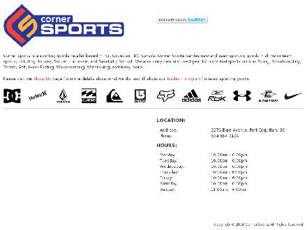 Corner Sports (604-554-0104) - Onglet de site Web - http://www.cornersports.ca
