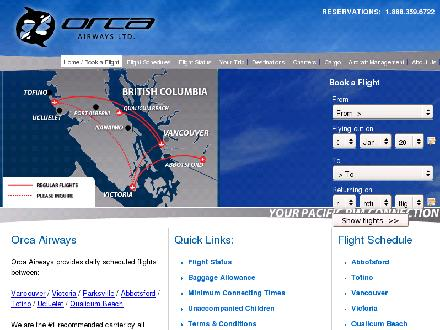 Orca Airways Ltd (604-270-6722) - Onglet de site Web - http://www.flyorcaair.com