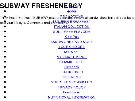 Subway Sandwich (905-547-7360) - Onglet de site Web - http://www.subway.ca