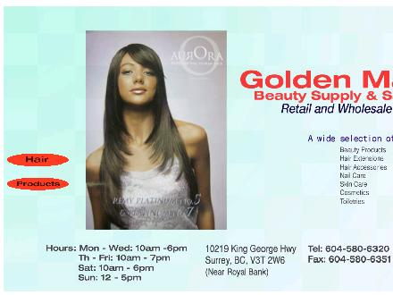 Golden Mart Beauty Supply (604-580-6320) - Onglet de site Web - http://www.goldenmartbeauty.ca