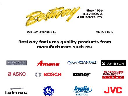 Bestway Television & Appliances Ltd (403-277-8010) - Website thumbnail - http://www.bestwaytv.ca