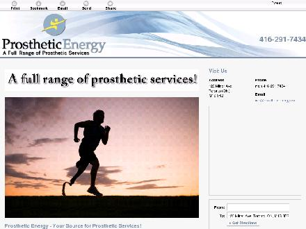 Prosthetic Energy Inc (416-291-7434) - Website thumbnail - http://prostheticenergy.ca