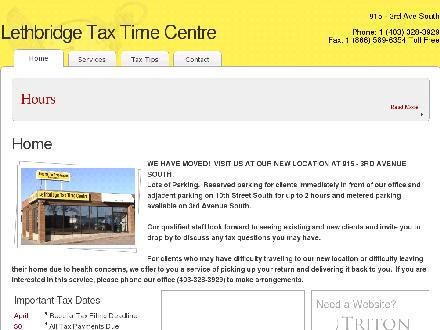 Lethbridge Tax Time Centre Corp (403-328-3929) - Onglet de site Web - http://www.lethbridgetaxtimecentre.com