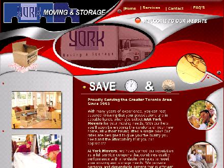 A A A York Moving & Storage (416-512-0000) - Onglet de site Web - http://www.yorkmovers.ca