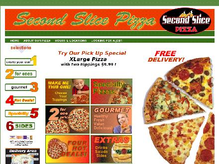 Second Slice Pizza (250-380-0866) - Onglet de site Web - http://www.secondslice.com