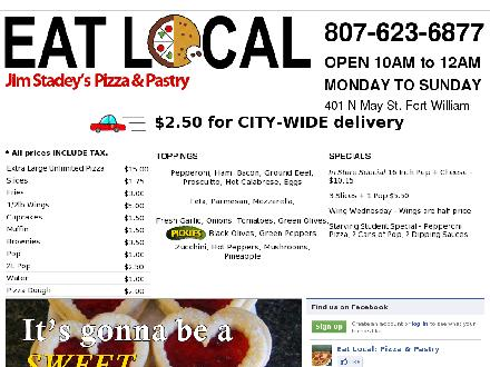 Eat Local Pizza and Pastry (807-623-6877) - Onglet de site Web - http://www.eatlocaltbay.com