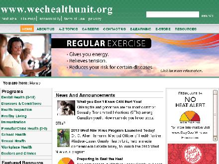 Windsor - Essex County Health Unit (519-258-2146) - Onglet de site Web - http://www.wechealthunit.org