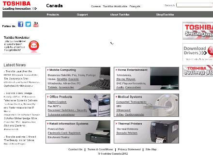 Toshiba Of Canada Limited (1-800-867-4422) - Onglet de site Web - http://www.toshiba.ca