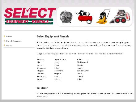Select Equipment Rentals (780-675-8040) - Website thumbnail - http://www.selectequipmentrentals.com