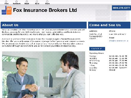 Fox Insurance (604-238-2750) - Onglet de site Web - http://foxinsurance.ca