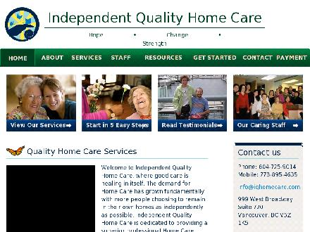 Independent Quality Home Care (604-725-9014) - Onglet de site Web - http://www.iqhomecare.com