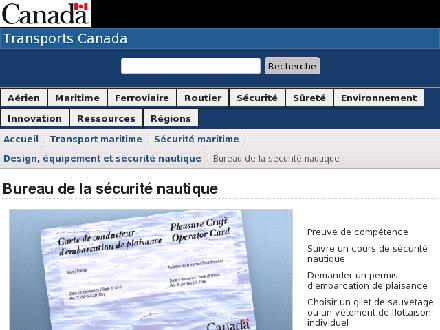 Transports Canada - Website thumbnail - http://www.securitenautique.gc.ca