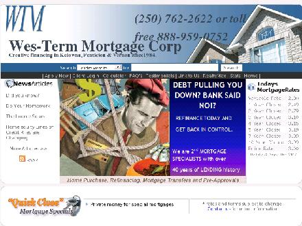 Wes-Term Mortgage Corp (250-762-2622) - Onglet de site Web - http://www.westerm.ca