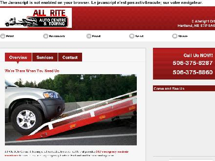 All Rite Auto Centre & Towing (506-375-8287) - Website thumbnail - http://allriteautocentre.ca