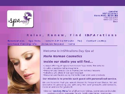 Merle Norman Cosmetics & Insparations Day Spa (780-532-1767) - Onglet de site Web - http://www.insparationsgp.com
