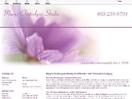 Classic Esthetics &amp; Electrolysis (403-234-8704) - Onglet de site Web - http://maryselectrolysisstudio.com/