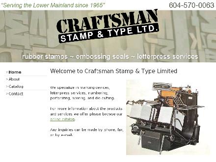 Craftsman Stamp & Type Ltd (604-570-0063) - Onglet de site Web - http://www.craftsmanstamp.com