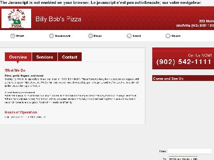 Billy Bob's Pizza (902-542-1111) - Onglet de site Web - http://www.billybobspizza.ca