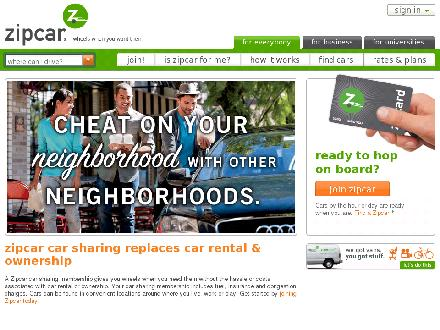 Zipcar.com - Onglet de site Web - http://www.zipcar.com