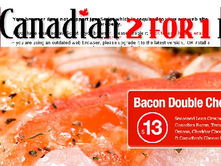 Canadian 2 For 1 Pizza (604-599-5669) - Onglet de site Web - http://www.canadian2for1pizza.com