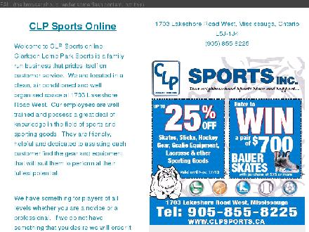 C L P Sports Inc (905-855-8225) - Onglet de site Web - http://www.clpsports.ca