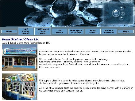 Kona Stained Glass Ltd (604-877-1332) - Onglet de site Web - http://www.konaglasslessons.com
