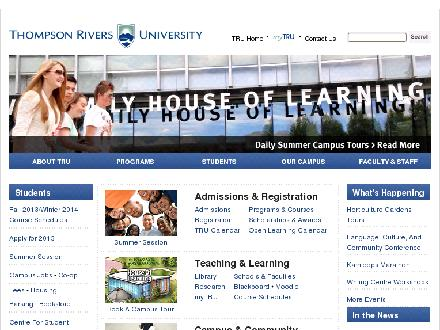 Thompson Rivers University (250-828-5000) - Website thumbnail - http://www.tru.ca