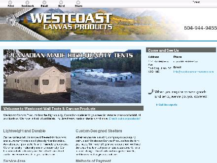 Westcoast Canvas Products (604-944-9455) - Website thumbnail - http://westcoastcanvastents.com/