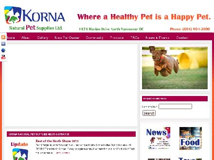 Korna Natural Pet Supplies Ltd (604-904-2008) - Onglet de site Web - http://www.kornapet.com