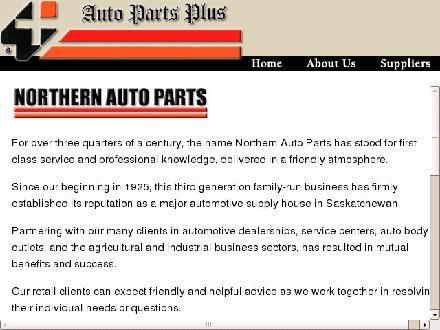 Northern Auto Parts Ltd The (306-445-4484) - Onglet de site Web - http://www.northernautoparts.ca