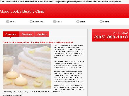 Good Look's Beauty Clinic (905-883-1818) - Onglet de site Web - http://goodlooksbeautyclinic.ca