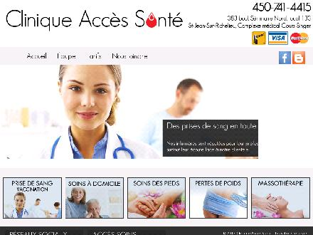 Clinique Acc&egrave;s Sant&eacute; (450-741-4415) - Website thumbnail - http://www.cliniqueaccessante.com