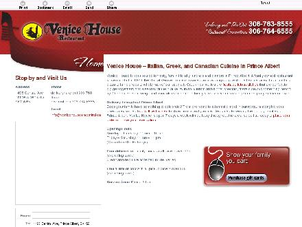 Venice House (306-763-8555) - Onglet de site Web - http://venicehouseoncentral.ca