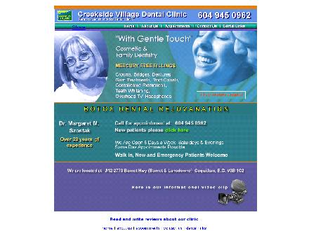 Creekside Village Dental Clinic (604-945-0962) - Onglet de site Web - http://www.creeksidedental.ca