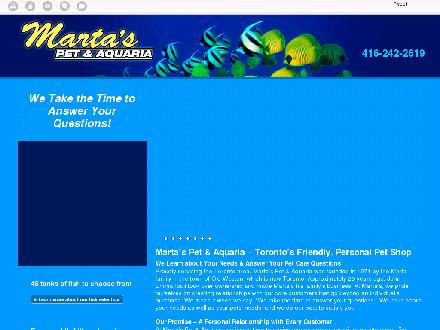 Marta's Pet & Aquaria (416-242-2619) - Website thumbnail - http://martaspetshop.ca/