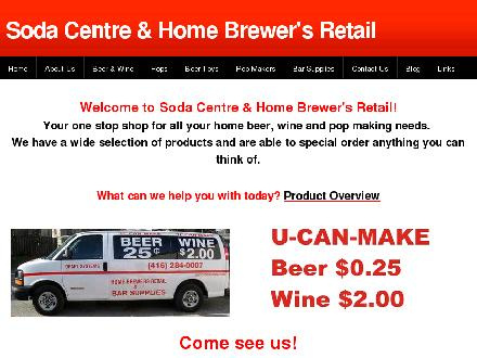 Soda Centre &amp; Home Brewer's Retail (416-284-0007) - Onglet de site Web - http://www.sodacentre.com