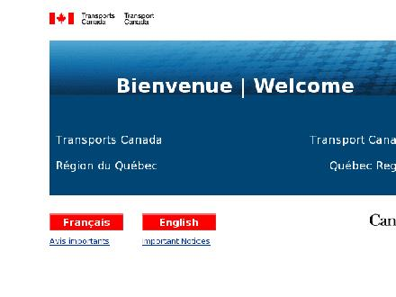 Transport Canada (1-800-267-6687) - Website thumbnail - http://www.tc.gc.ca/quebec