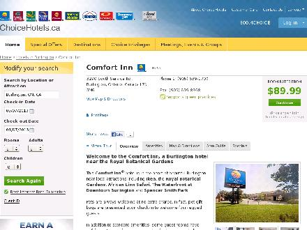 Comfort Inn Burlington (905-639-1700) - Onglet de site Web - http://www.choicehotels.ca/cn259