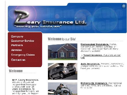 Leary P Insurance Ltd (403-245-4781) - Website thumbnail - http://www.plearyinsurance.com