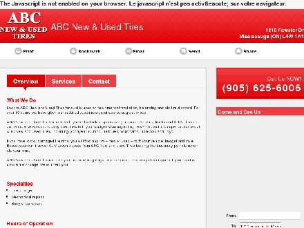 ABC New & Used Tires (289-814-4864) - Onglet de site Web - http://www.abctires.net